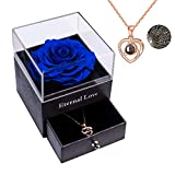 Sunia Eternal Preserved Rose Preserved Real Rose with Love You Collar...