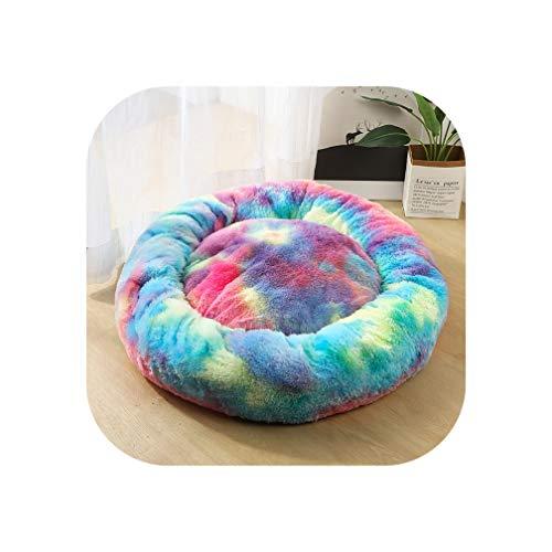 Little-Goldfish Dog Bed Washable Long Plush Dog Kennel Deep Sleeping Bag Sofa Basket House Beds for Small Medium Large Dogs Cat Bed,Rainbow Blue,Xs Diameter 40Cm