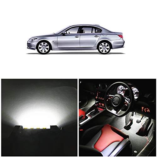 WLJH 17 unids Blanco Bombillas LED Coche Auto LED Luces Interiores Accesorios Kit de Paquete de Reemplazo para 2004-2010 E60 Serie 5 sedans-2Yrs Garantía