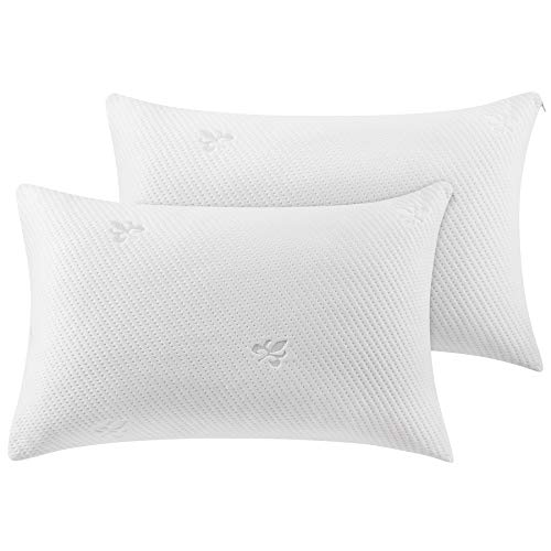 Bed Pillows for Sleeping Shredded Memory Foam Pillow 2 Pack Queen Size with Washable Pillow Cover,Great Support and Fluffy