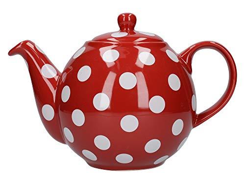 London Pottery Théière Ronde Rouge à Pois Blancs 4 Tasses