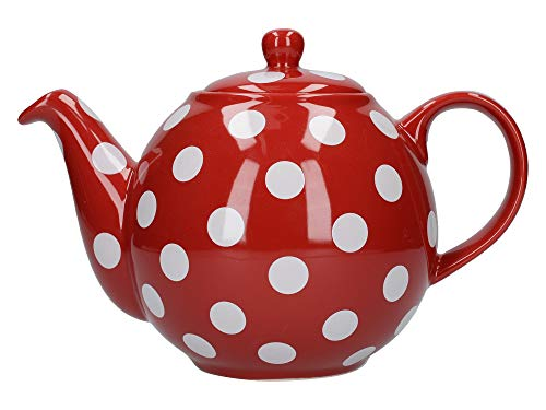 London Pottery Globe Teapot, Red/white Spot, 4 Cup, Closed Box