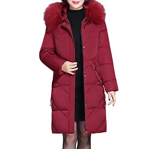 Abrigos de Plumas Mujer de Nieve Invierno Largas Elegantes Tallas Grandes,PAOLIAN Chaquetas de Mujer Vestir Otoño Fiesta Chaquetón Acolchado Señora Gabardina Cuello Mapache