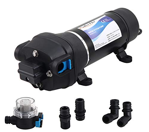 KOLERFLO AV 110V Self Priming Water Pump 17 LPM/4.5 GPM AMPS:1.0A, MAX.AMPS:1.8A 40 PSI/2.8 bar Diaphragm Water Pump Caravan/RV/Boat/Marine