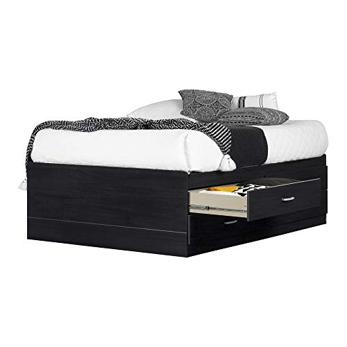 South Shore Cosmos Captain Bed with 4 Drawers, Full 54-inch, Black Onyx