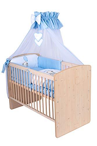 KMbaby Babybett K2 Naturholz Farbe 120x60 mit 10tlg Bettwäsche Set Matratze Gitterbett Teddybär mit Ballon blau