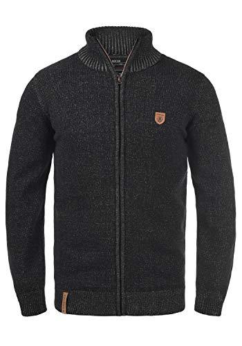 Indicode Andy Herren Strickjacke Cardigan Grobstrick Winter Pullover mit Stehkragen und Reißverschluss, Größe:3XL, Farbe:Black (999)