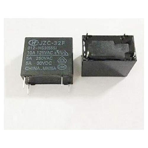 10pcs 12V Relay JZC-32F-012-HS3 4PIN 5A 250VAC SPST Relay Precise