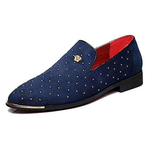 CMM Men's Leather Loafer Shoes Spikes Slippers Flats Slip-On Party Dress Blue and Gold Loafers Size 7 Navy