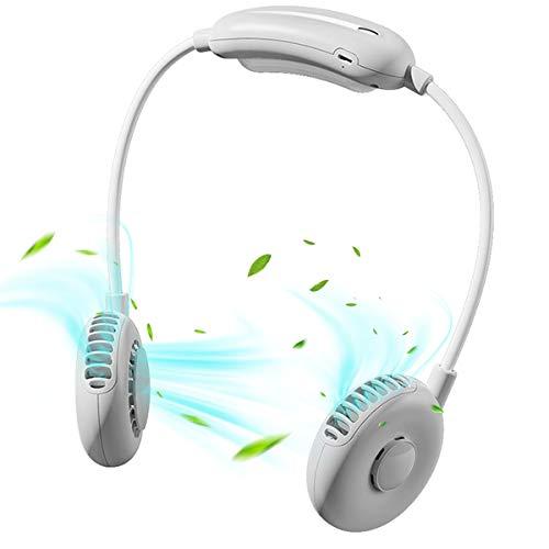 MBTRY Ventilador portátil para cuello 2021, con manos libres, USB recargable, 2000 mAh, para deportes, cuello de 360°, plegable, para viajes al aire libre, deportes, viajes, color blanco