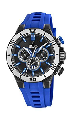 Festina Unisex Erwachsene Chronograph Quarz Uhr mit Silikon Armband F20450/5