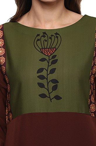 Janasya Women's Polyester Crepe Kurta (JNE2009-KR-310-L, Brown, Large)