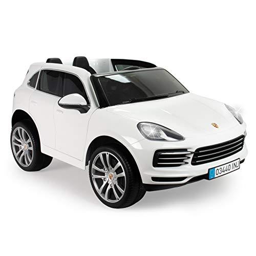 INJUSA - Porsche Cayenne S Weiß 12V mit Führerschein und Funkfernsteuerung für Kinder +3 Jahre