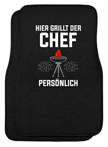 SPIRITSHIRTSHOP Hier Grillt The Chef Personal - grillen, koken, bakken, grillchef, grillmeester, worst - automatten