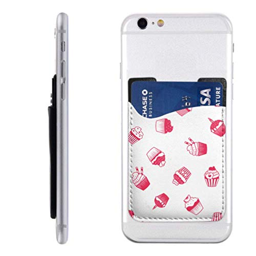 Best Phone Card Holder Decorated Sweet Cupcakes Cards Phone Holders with 3m Adhesive Stick-on Fits iPhone Android Most Smartphones Sticker Phone Card Holder Womens Credit Card Holders