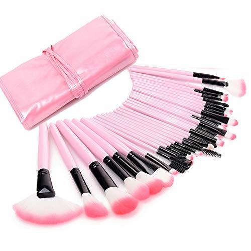 SJQWE Kit de pinceaux de Maquillage, 32 pinceaux de Maquillage cosmétiques Professionnels de Couleur Rose avec Sac de Rangement pour Cache-cernes à lèvres Fard à paupières pour Filles