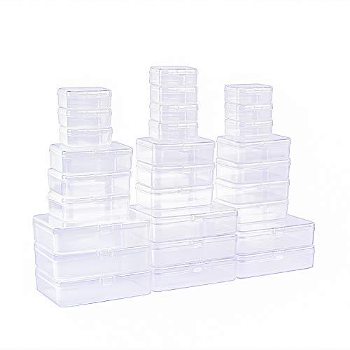 LJY 28 contenedores rectangulares vacíos de plástico con tapas para objetos pequeños y otros proyectos de manualidades (transparente)