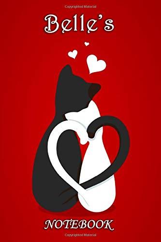 Belle's Notebook: Belle Personalised Custom Name Notebook - Cat Couple Heart
