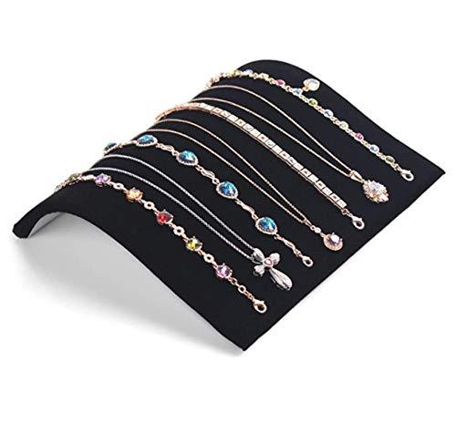 HJQL Exhibidor De Collar De Terciopelo, Bandeja Organizadora De Exhibición De Joyería para Almacenamiento, para Collares/Pulseras/Clavijas/Colgantes (19 X 19,7 Cm, Negro)