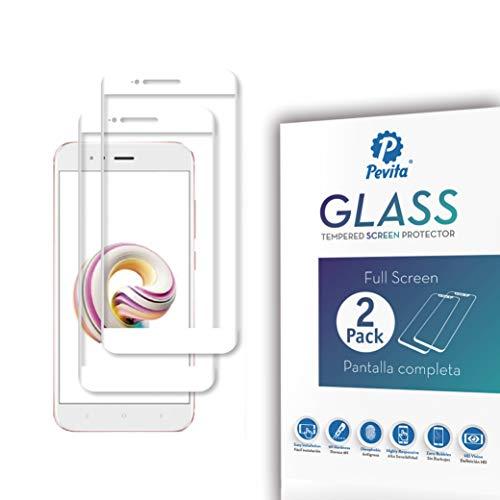 Pevita Protector de Pantalla para Xiaomi Mi A1 Blanco [2 Packs] Full Screen. Dureza 9H, Sin Burbujas, Fácil Instalación. Protector de Pantalla de Cristal Templado Premium para Xiaomi Mi A1 Blanco