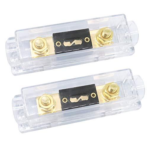 ZHITING 2 Stück ANL Sicherungshalter 100 Amp Vergoldete Sicherung 0/2/4 Gauge ANL Fuse für Auto Fahrzeuge Audio - Schwarz (100A)