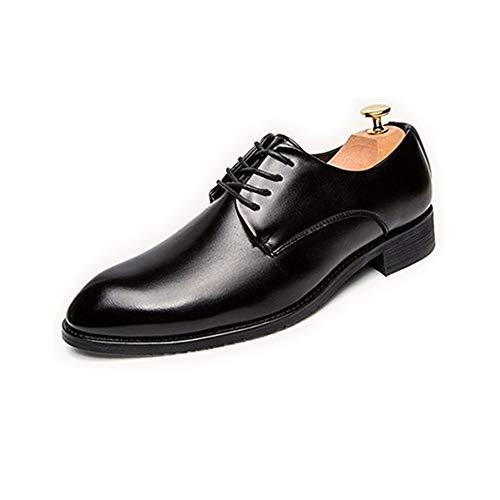 Z.L.FFLZ Oxford Schuh Oxford Britische Freizeit Schuhe Für Männer Mikrofaser Leder Brautkleid Müßiggänger Runde Kappe Anti-Slip Schnüren Flache Lederschuhe (Color : Black, Size : 41 EU)