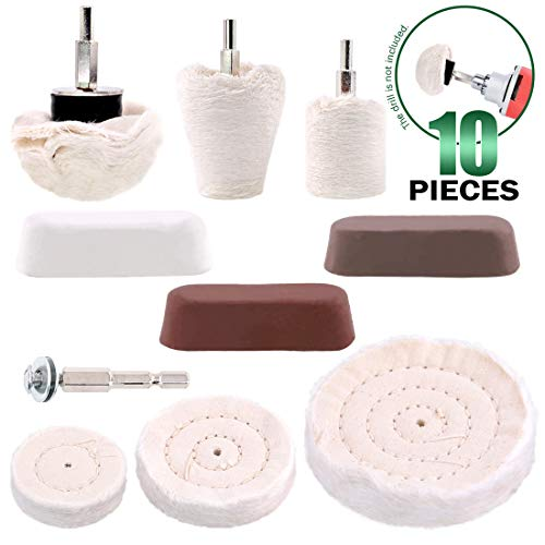 Keadic 10 Pcs Buffing Pad Polishing Wheel Kits with 3pcs Rouge Compound, Cone/Column/Mushroom/T-Shaped Wheel Grinding Head with 1/4