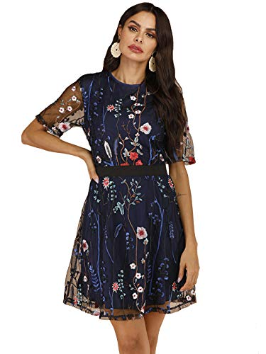 Milumia Women's Round Neck Floral Embroidered Mesh Short Sleeve Dress