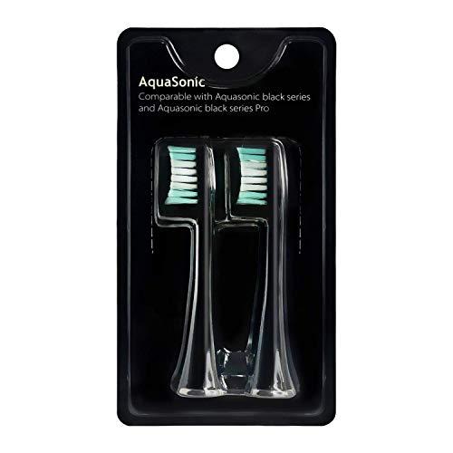 AquaSonic Black Series Replacement Brush Heads 2-Pack - Electric Toothbrush Replacement Brush Heads