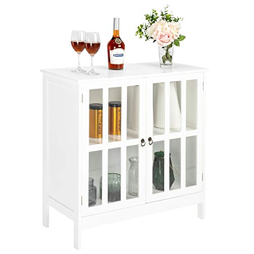 VINGLI White Sideboard Cabinet Kitchen Storage Buffet Dining Sideboard Buffet Cabinet with Transparent Doors in Kitchen, Dining Room, Living Room