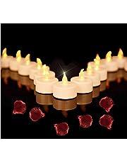 Beneve - Juego de 50 velas LED sin llama, realistas y brillantes, parpadeantes, funcionan con pilas, de larga duración, para bodas, vacaciones, fiestas, decoración de interiores