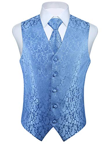 Enlision Weste Herren Paisley Floral Jacquard Anzugweste Krawatte Tasche Square Taschentuch Set V-Ausschnitt Ärmellose Fit Business Hochzeit Anzug Westen