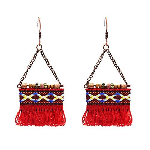 Pendientes de borla de algodón de nuevoestiloeuropeo y americano,atracciones turísticas de viento étnico, pendientes largos de tela, rojo