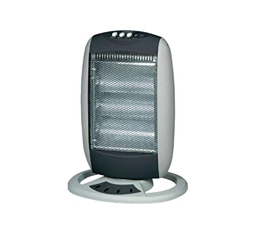 Palucart Stufa alogena al quarzo basso consumo elettrica sole 1200w con oscillazione automatica sistema di sicurezza colore grigio chiaro inserti grigio scuro