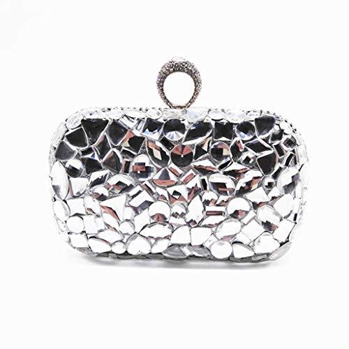 TcooLPE Mini dameshandtas met diamanten avondtas ijzeren doos high-end handheld bankettas (wit)