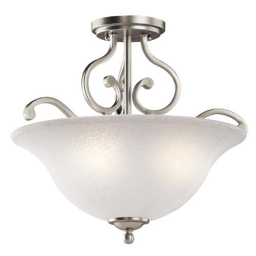 Kichler 43232NI Camerena Semi Flush Ceiling Light, Brushed Nickel 3-Light (18' W x 15' H) 300 Watts