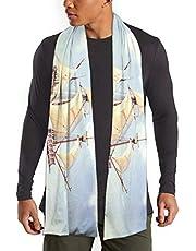 帆船の絵画上品 模造綿スカーフ 防寒 秋冬暖 両面柄 ショール 旅行 通勤通学 男女兼用
