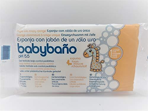 Babybaño Esponja Jabonosa De Un Solo Uso Para Bebés, 0 A 3 Años - Estuche de 25 esponjas.