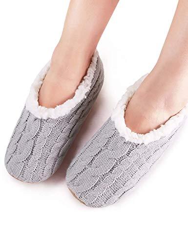 VERO MONTE 2 Pairs Womens Thick & Warm Slipper Socks (GREY + PURPLE, 6-7)42211