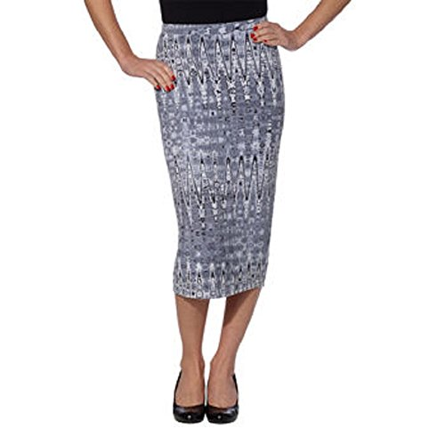 Matty M Ladies' Midi Skirt Pull-on Style, Fully Lined, Knee Length (Small, Gray Tie-Dye)