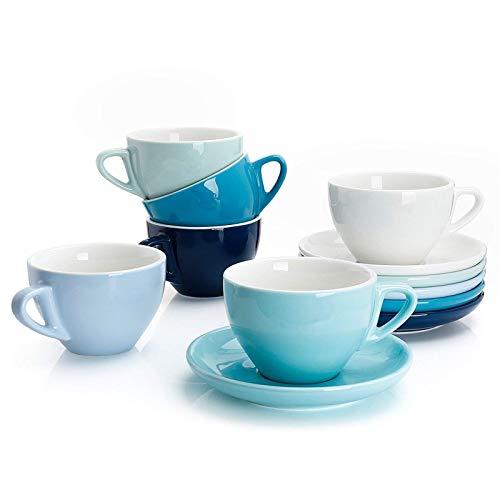 Sweese 402.003 6-teilig Cappuccinotassen Set aus Porzellan, Dickwandige Kaffeetassen mit Untertasse, Blaue Serie, 180 ml
