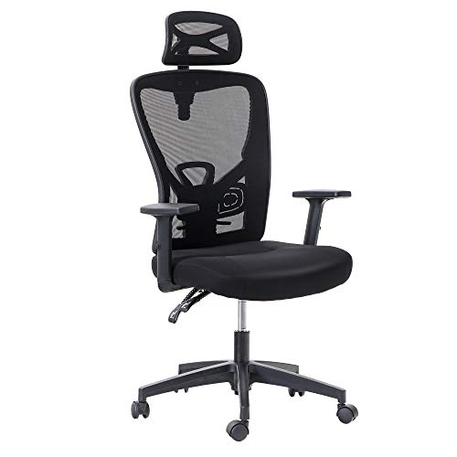 MAISON ARTS Ergonomic Home Office Desk Chair, High Back Mesh Computer Task Chair with Adjustable Headrest, Armrest and Lumbar Support