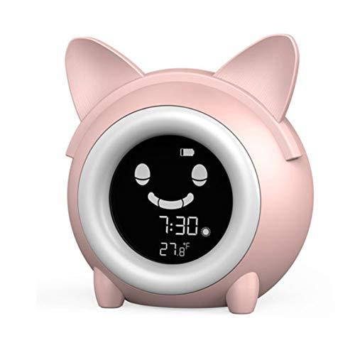 LANGTAO Niños Niños Digital Alarma, Entrenamiento para Dormir Relojes De Noche, Luz De Noche Colorida Reloj De Despertador Digital, Temporizador De Temperatura para Dormitorio,Rosado