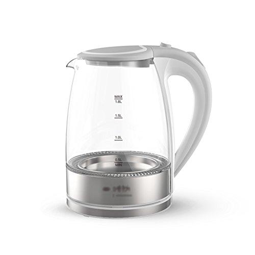 Bouilloire électrique ménagère verre en acier inoxydable 1.8 litres grande capacité automatique de mise hors tension Bouilloire d'eau blanc