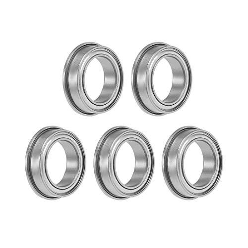 uxcell F6700ZZ Flange Ball Bearing 10x15x4mm Shielded Chrome Bearings 5pcs