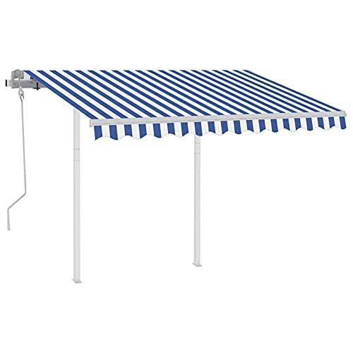 Ksodgun Toldo Manual retráctil con Postes para Balcón Terraza Puerta Exterior Azul y Blanco 3,5x2,5 m