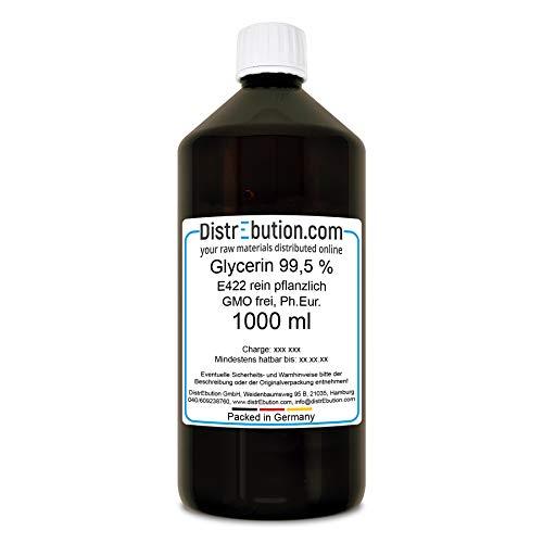 1 Liter Glycerin 99,5%, rein pflanzlicher Rohstoff für Kosmetik, Lebensmittel und mehr, Ph. Eur. E 422