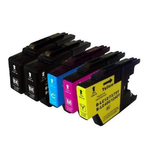 Sumedtec- Multipack de 5 Cartuchos de Tinta XL LC 1240 LC1240 LC 1240 Premium Cartuchos de Tinta para Brother DCP J 525 W/725 DW, 925 DW – 2 x Negro, 1x Cian, 1x Magenta,1x Amarillo