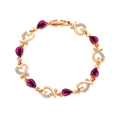 Sannysis Armband für Frauen Mädchen Herz Liebe Kristall Armband Silber Gold Rose Gold Armreif Valentinstag Hochzeit Brautschmuck (Lila)