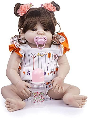 DFGBXCAW Simulación de Silicona Reborn Baby Doll Realista Chica Acrílico Ojos Abiertos Bebés Muñecas Realista Niños Juguete Niños Regalo de cumpleaños 55 Cm